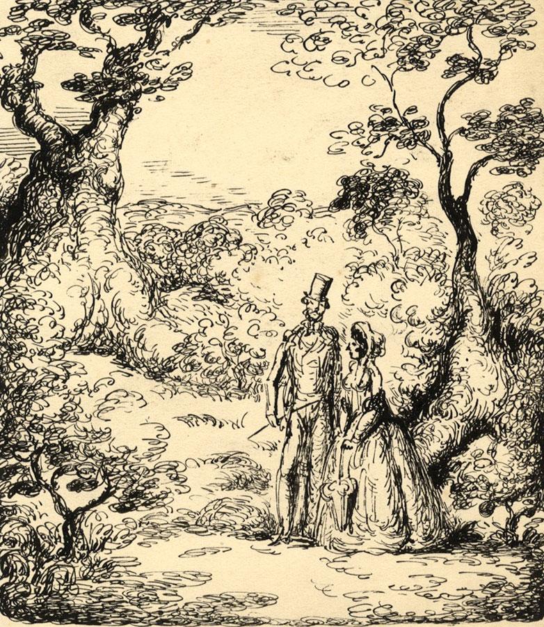 Harold Hope Read Georgian Lovers In Landscape Original 1920s Pen Ink Drawing Ebay