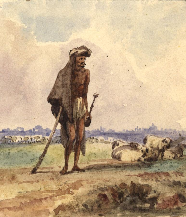 Albert A Harcourt Berger Arabe Mouton 19eme Siecle Peinture A L Aquarelle Ebay