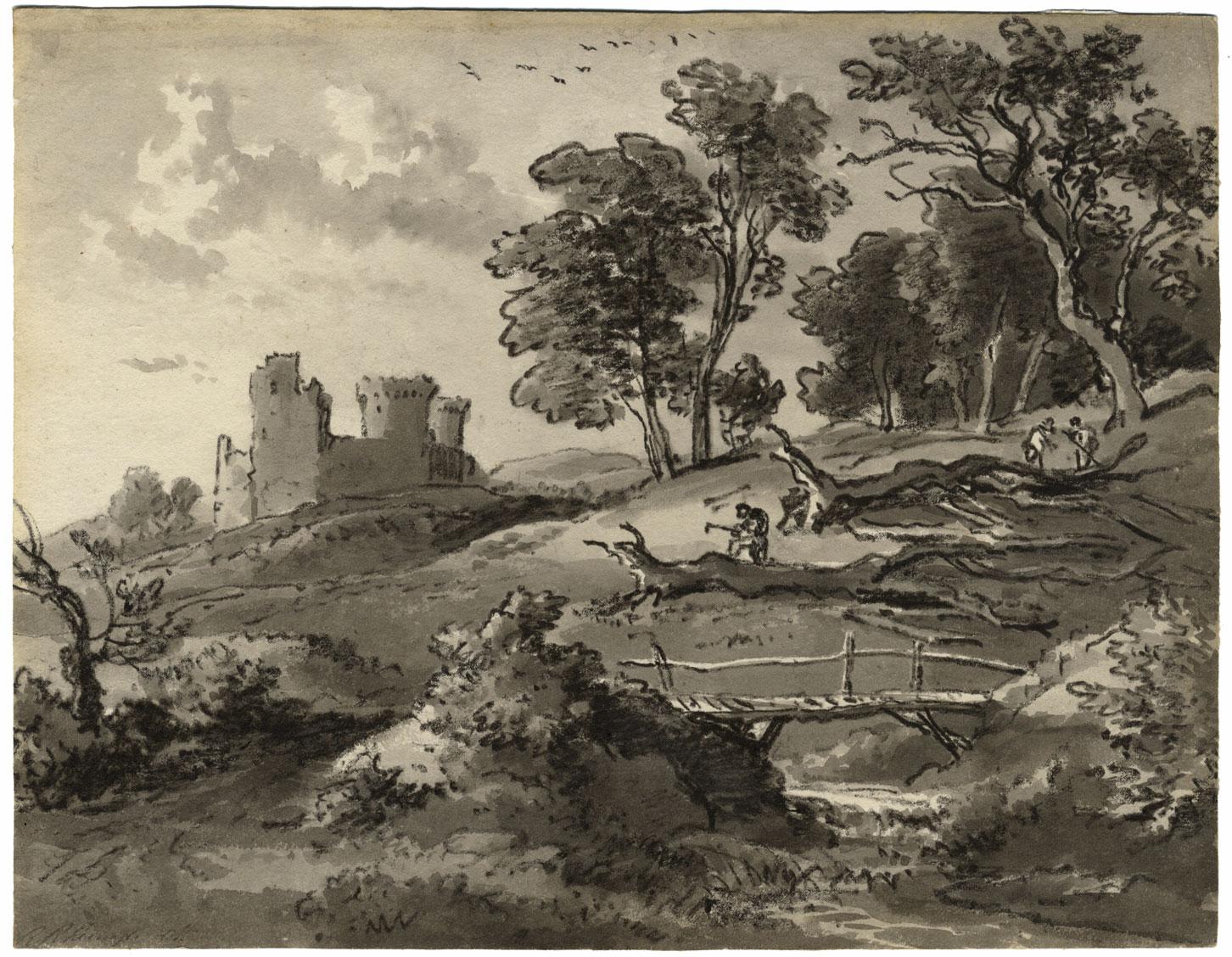 Maison En Ruine Dessin détails sur ramsay richard reinagle ra, paysage avec château en ruine -  dessin à la craie