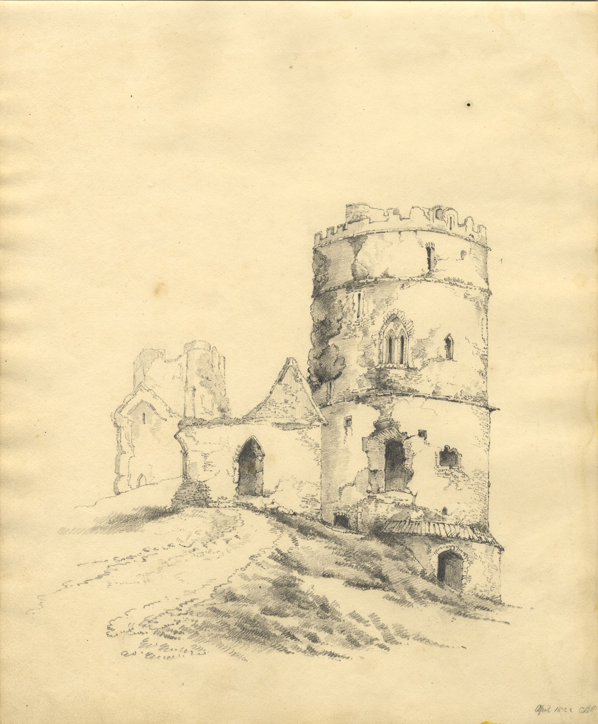 Maison En Ruine Dessin détails sur c.b. pearson, ruine tour château - dessin original 1822 de  graphite
