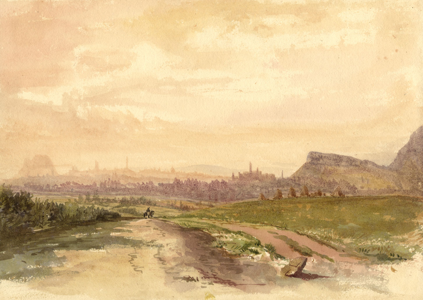 Edinburgh Skyline De Rosslyn Road Late Peinture A L Aquarelle Du 19eme Siecle Ebay