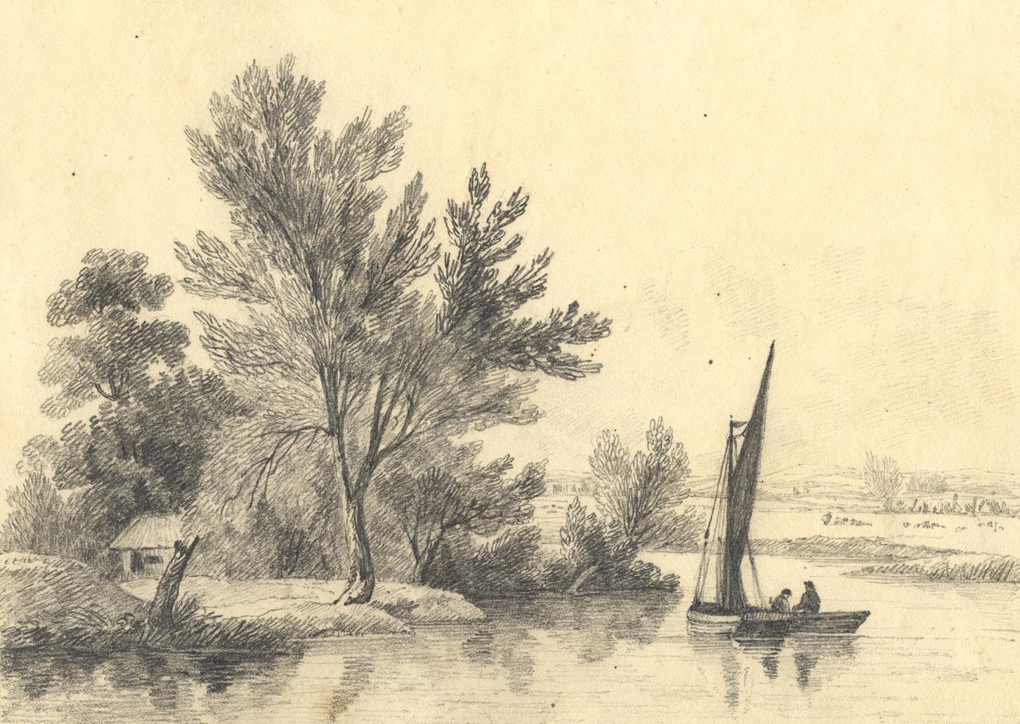 C B Pearson Bateau A Voile Sur La Tamise Iffley Oxford 1819 Dessin Grap Ebay